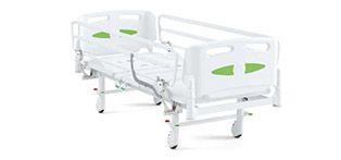Patient bed/ Retractable cranks adjustable positions; fixed height, technopolymer frame