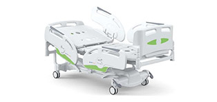 Patient bed with pneumatic gas spring adjustable position